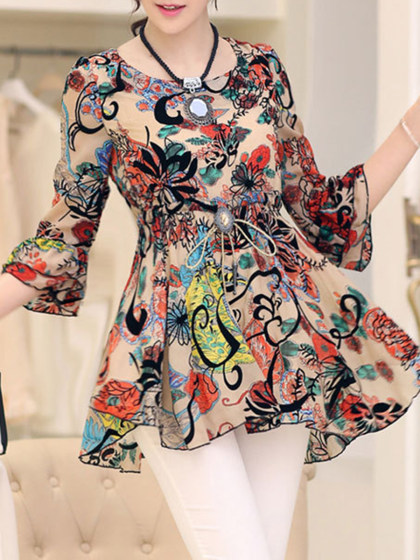 Spring Summer  Polyester  Round Neck  Printed  Bell Sleeve  Three-Quarter Sleeve Blouse
